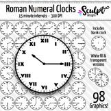 Clock Clip Art ~ Roman Numerals ~ Every 15 Minutes