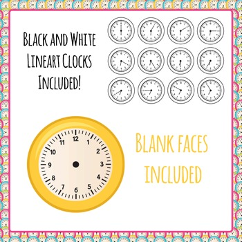 Clock Clipart - 726 images - 5 Colors, Every 5 Minutes - Commercial Use