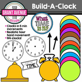 Clock Clipart - Build-A-Clock Clipart - Clock Clip Art for Every 5 Minutes