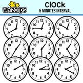 Clock Clipart -Five minutes Interval