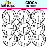 Clock Clipart - Half Hour Interval
