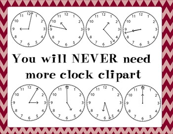Clock Clipart Mega Pack 720 Images for 2.MD.C.7 & 3.MD.A.1