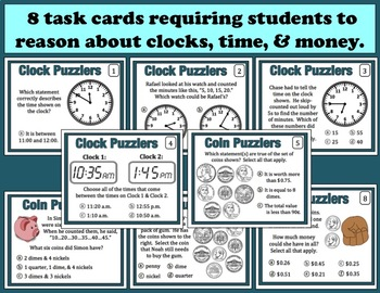 Clock & Coin Puzzlers telling time/counting coins task cards, printables freebie