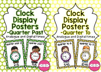 Clock Display Posters BUNDLE- Quarter Past and Quarter To