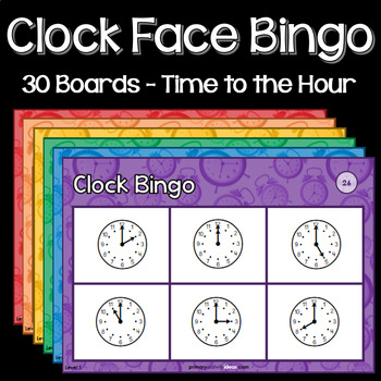 Clock Face Bingo - Time to the Hour - 30 Boards