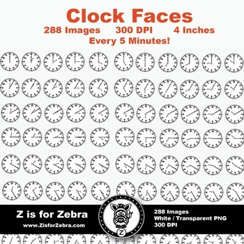 Clock Face Clip Art 288 Images - Every 5 Min - Commercial ok! {Z is for Zebra}