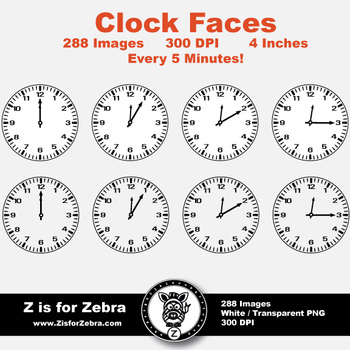 Clock Face Clip Art 288 Images - Every 5 Min - Commercial