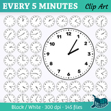Clock Face Clip Art Every 5 Minutes – For Print and Digital