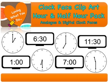 Clock Face Clip Art- Hour & Half Hour