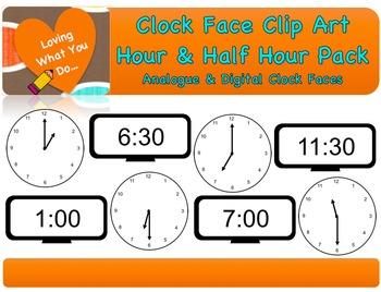 Clock Face Clip Art- Hour & Half Hour