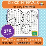 Clock Face / Time Clip Art (5 Minute Intervals) 290 Graphi