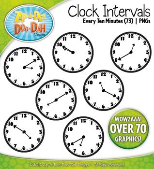 Clock Face Every 10 Minutes Intervals Clipart {Zip-A-Dee-Doo-Dah Designs}