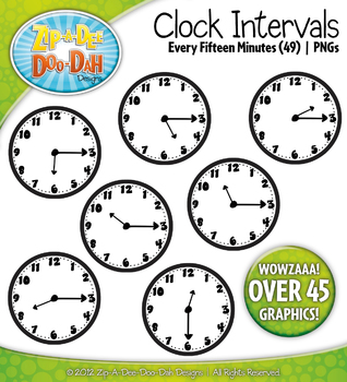 Clock Face Intervals Clip Art — Every 15 Minutes / Over 45