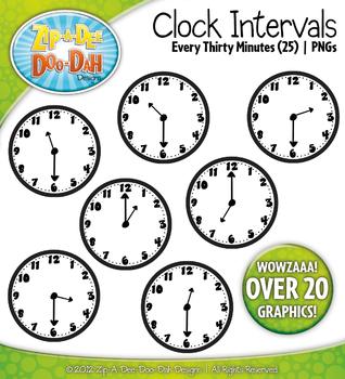 Clock Face Every 30 Minutes Intervals Clipart {Zip-A-Dee-Doo-Dah Designs}