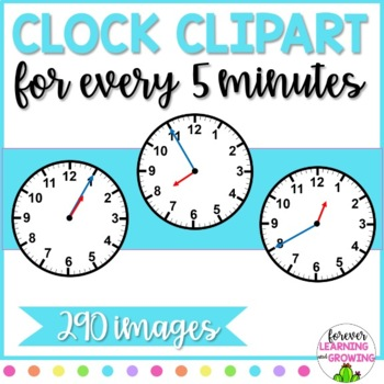 Clock Faces of 5 Minute Intervals-- 290 images total!!!