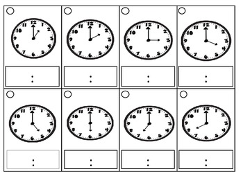 Clock Flashcards: Read, Write, and Erase- Hour and Half-Hour