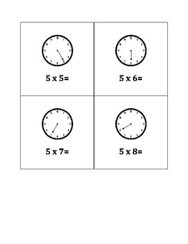 Clock Flashcards for the Fives