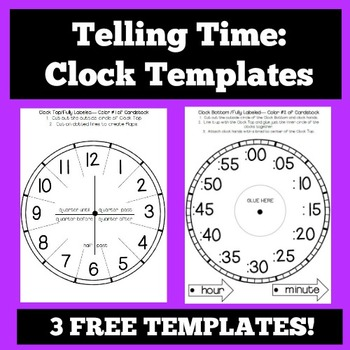 Telling Time Clock Templates And Foldables By The Owl Teach  Tpt