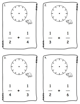 Clock Fraction Addition: Task Cards or Scoot