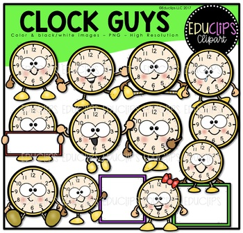 Clock Guys Clipart Bundle {Educlips Clipart
