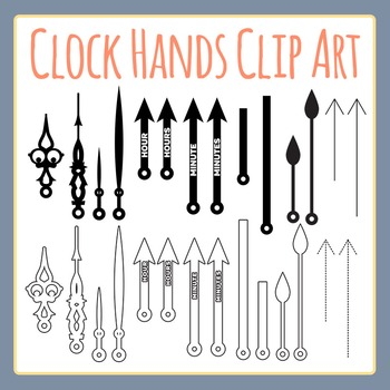 Clock Hands Clip Art Set for Commercial Use