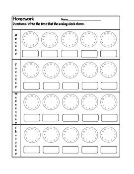 Clock Homework Worksheet #1