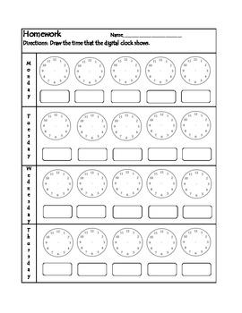 Clock Homework Worksheet #2