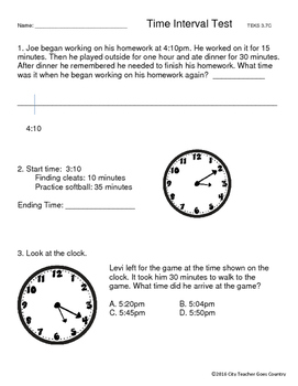 Clock Intervals Test for 3rd grade