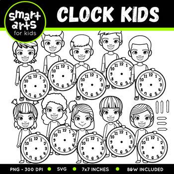 Clock Kids Clip Art