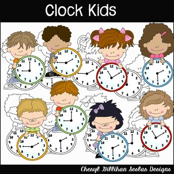 Clock Kids Clipart Collection