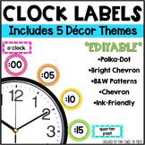 Clock Labels Classroom Decor