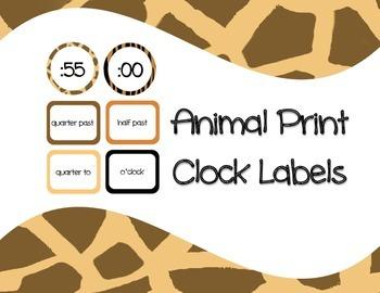 Clock Labels Animal Print