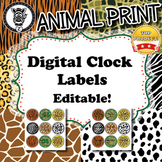 Clock Labels  - Animal Print - ZisforZebra - Editable!
