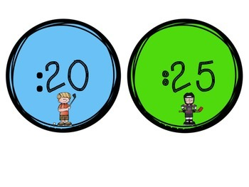 Clock Labels-Blue and Green Sports: Freebie