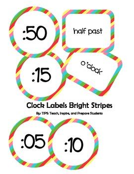 Clock Labels Bright Stripes