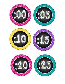 Clock Labels (Chalkboard Themed/Bright colors) -- FREEBIE!