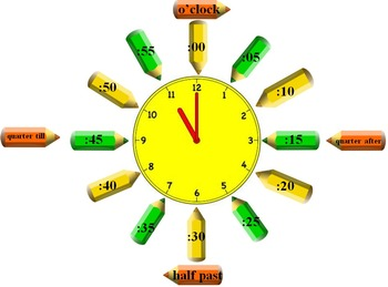 Clock Labels - Colored Pencil Themed