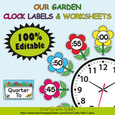 Clock Labels Decoration & Worksheets in Flower & Bugs Theme - 100% Editble