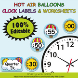 Clock Labels Decoration & Worksheets in Hot Air Balloons Theme - 100% Editable