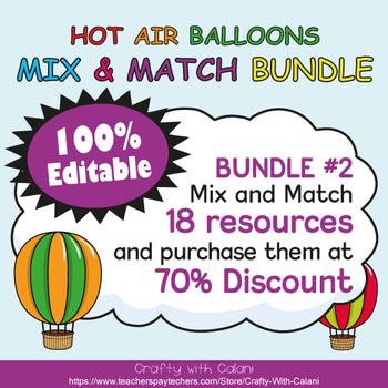Teacher's Binder Cover in Hot Air Balloons Theme - 100% Editble