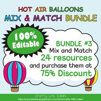 Classroom Center Sign in Hot Air Balloons Theme - 100% Editble