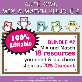 Clock Labels Decoration & Worksheets in Owl Theme - 100% Editble