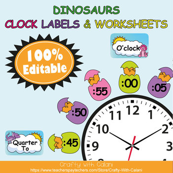 Clock Labels Decoration & Worksheets in Robot Theme - 100% Editble