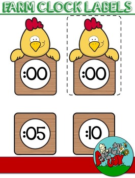 Clock Labels - Farm Animal