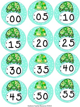 Clock Labels It's Turtle Time {Light Blue Polka Dots}