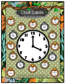 Clock Labels Jungle/Safari/Zoo Theme