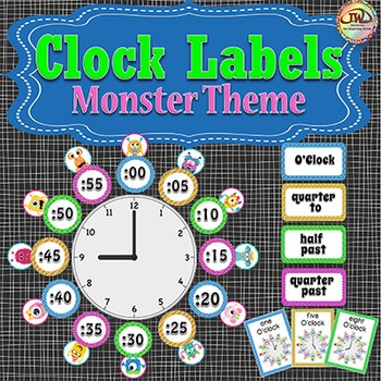 Telling Time Clock Labels - MONSTERS Themed Classroom Decor, Plus Flash Cards