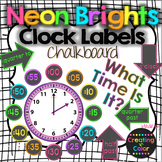 Clock Labels - Classroom Decor - Neon Brights Chalkboard
