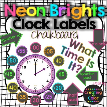 Clock Labels - Classroom Decor - Neon Brights Chalkboard