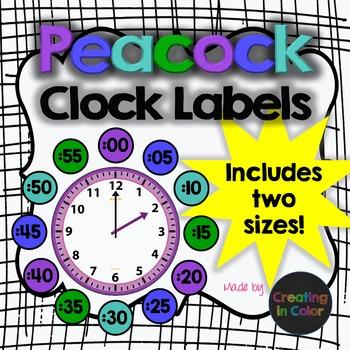 Clock Labels - Classroom Decor - Peacock